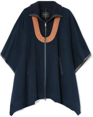 Derek Lam Leather-paneled Wool-blend Felt Cape - Storm blue