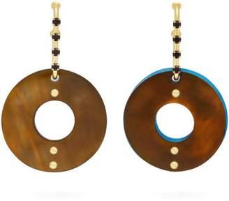 Marni Hoop Crystal Drop Earrings - Womens - Green