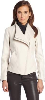 Kensie Women's Wool Jacket Metallic Snake Sleeves