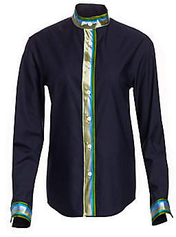 Rosie Assoulin Women's Multicolored Striped Trim Button-Down Shirt - Size 0