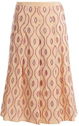 Marni Embroidered Eyelet A Line Midi Skirt - Womens - Pink Multi