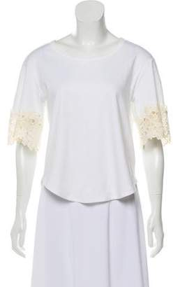 See by Chloe Lace-Trimmed Long Sleeve Top