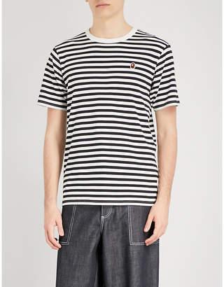 A Bathing Ape Striped college cotton-jersey T-shirt