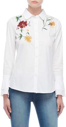 Alexander Jordan Floral Embroidered Ruffled Cuff Shirt
