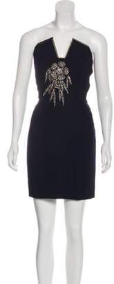 Lanvin Strapless Embellished-Accent Dress Navy Strapless Embellished-Accent Dress