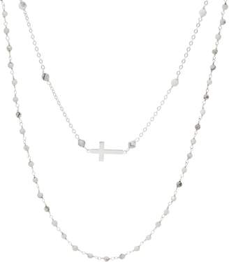 Silver Cross Italian Motif Gemstone Necklace Set