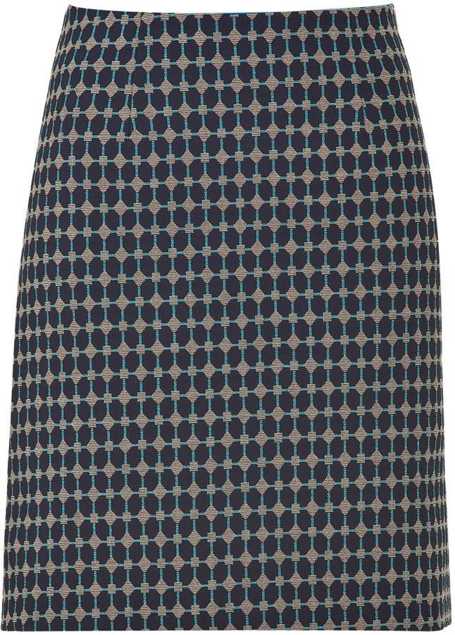 Tara Jarmon Marine Blue Geometric Woven skirt