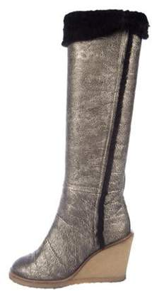 Chanel Shearling-Lined Knee-High Boots Gold Shearling-Lined Knee-High Boots