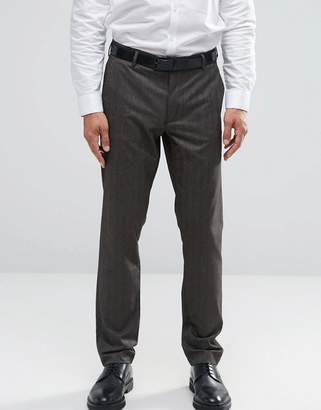 Asos Design Skinny Smart Pants In Brown Herringbone