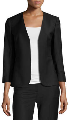Theory Lindrayia B Continuous Open-Front 3/4-Sleeve Blazer $515 thestylecure.com
