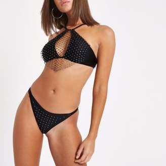 River Island Black rhinestone thong bikini bottoms