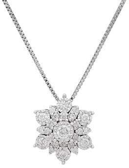 Lord & Taylor Sterling Silver, 0.4TCW White Diamond Floral Pendant Necklace
