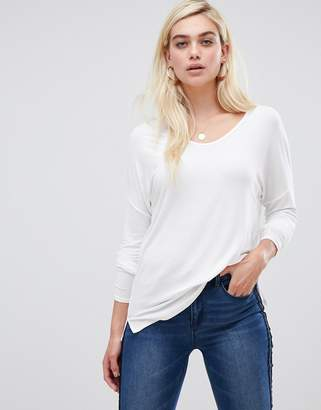 Asos Design Top With Batwing Long Sleeve In White
