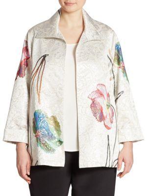 Caroline RoseCaroline Rose Floral Jacquard A-Line Jacket