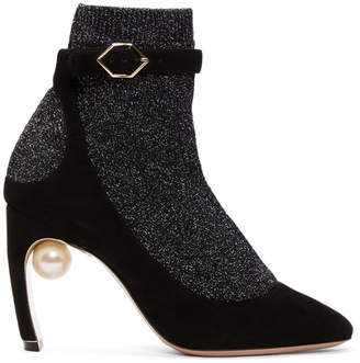 Nicholas Kirkwood Black and Gunmetal Lola Pearl Sock Pump Boots
