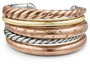 David Yurman Pure Form® Mixed Metal Five-Row Cuff With Diamonds, 41Mm
