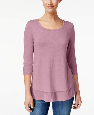 Style&Co. Style & Co Petite Chiffon-Hem Top, Created for Macy's