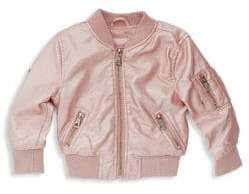 Urban Republic Baby Girl's Faux-Leather Bomber Jacket