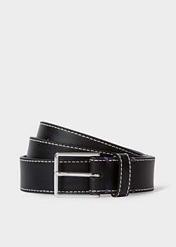 Paul Smith Men's Black Leather Belt With 'Mini' Interior Print