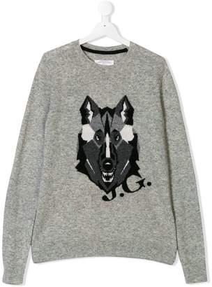 John Galliano wolf embroidered jumper