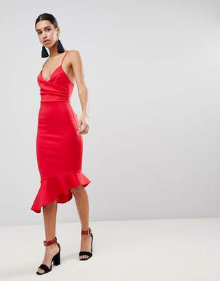 Asos Design Scuba Cami Pephem Midi Dress