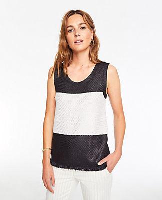 Ann Taylor Colorblock Fringe Sleeveless Sweater