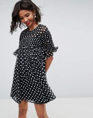 Asos DESIGN Spot Smock Mini Dress With Shirring Detail