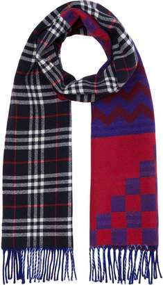 Burberry Reversible Graphic and Check Wool Cashmere Scarf