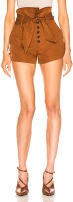Marissa Webb Gia Faille Shorts in Copper Brown   FWRD
