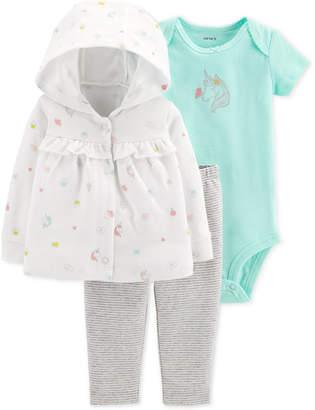 Carter's Carter Baby Girls 3-Pc. Hooded Cotton Cardigan, Bodysuit & Pants Set