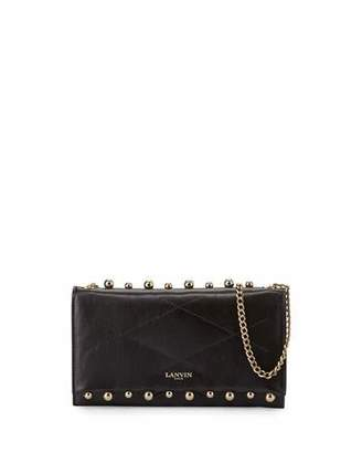 Lanvin Sugar Small Pearls Wallet-on-Chain, Black $890 thestylecure.com
