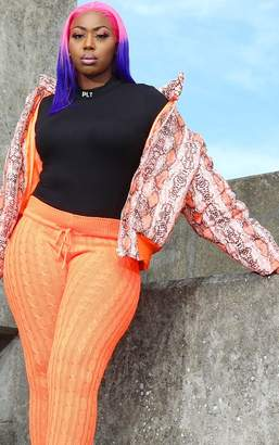 PrettyLittleThing Plus Orange Snake Print Cropped Puffer