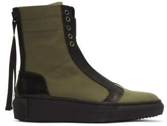 D by D Khaki Back Zip High-Top Sneakers