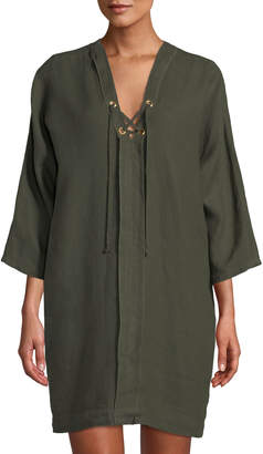 Three Dots Linen Lace-Up Cocoon Dress, Green