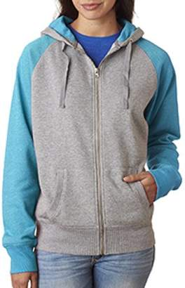 J America Ladies' Ladie's Glitter French Terry Contrast Full-Zip Hood - OXFORD/ MAUI BLU - S JA8868
