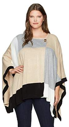Calvin Klein Women's Plus Size Color Block Poncho Sweater