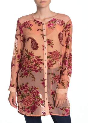 ARATTA Isla Front Button Sheer Mesh Tunic