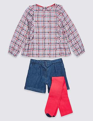 Marks and Spencer 3 Piece Top & Shorts with Tights (3 Months - 7 Years)