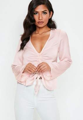 Missguided Pink Ruched Front Long Sleeve Satin Blouse