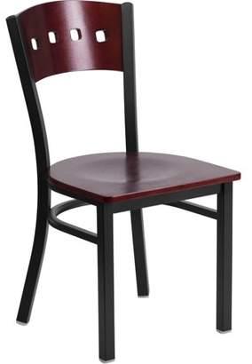 Flash Furniture 2pk HERCULES Series Black Decorative 4 Square Back Metal Restaurant Chair, Mahogany Wood Back & Seat
