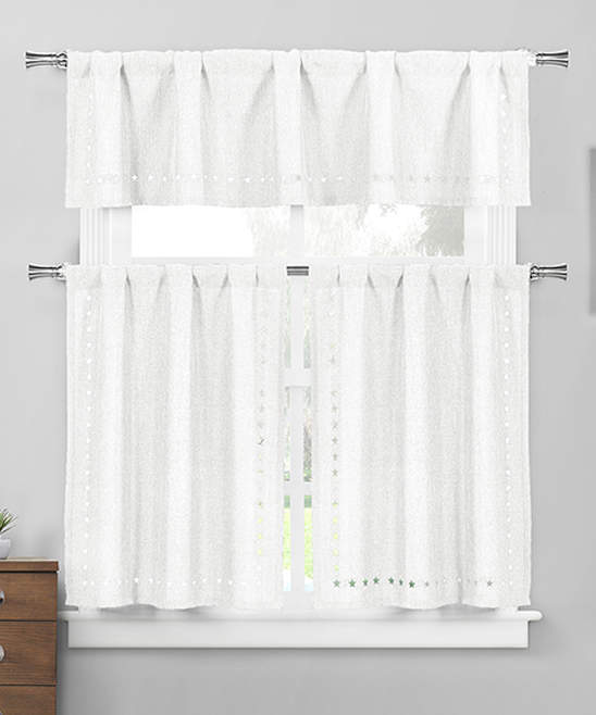 White Conor Valance & Curtain Panel Set