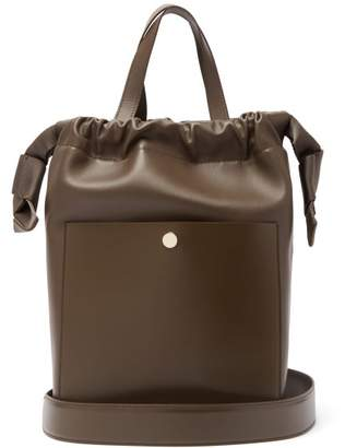 Sophie Hulme Knot Leather Shoulder Bag - Womens - Dark Brown