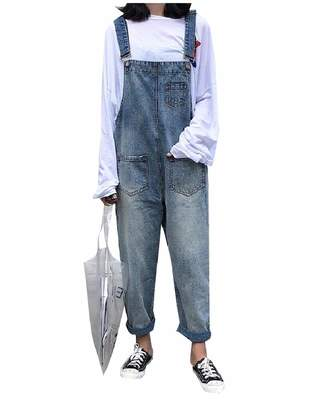 77182a00964 TaoNice-women clothes TaoNice Women Overalls Palazzo Wide Leg Plus Size  Baggy Denim Bib Pants