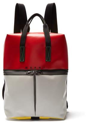 Marni Colour Block Panelled Backpack - Mens - Red Multi