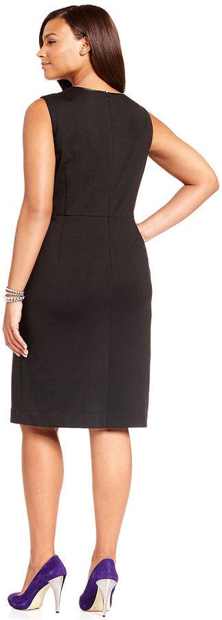 Jones New York Collection Plus Size Sleeveless Faux-Leather-Trim Sheath Dress