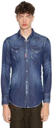 DSQUARED2 Bleached Cotton Denim Western Shirt