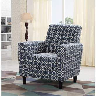 Best Master Furniture Navy Blue/Off White Pattern Accent Chair