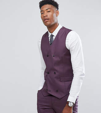 Asos Design Tall Skinny Suit Waistcoat In 100% Wool In Dusky Purple