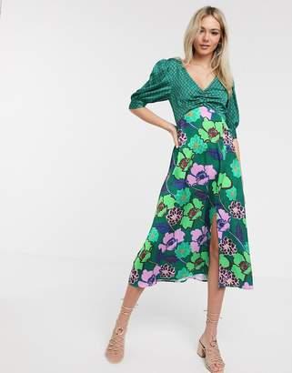 Liquorish satin midi dress in green floral