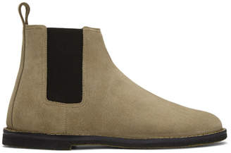 Saint Laurent Tan Suede Crepe Sole Oran Chelsea Boots